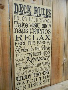 Deck Rules typography large wood cream sign by AmericanAtHeart, $38.00