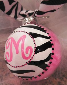 Hand Painted Christmas Ornament - Zebra Monogram. $12.00, via Etsy.