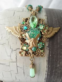 ibhandmade  FAIRY NECKLACE green fantasy necklace with crystals and by shmai3, €50,00