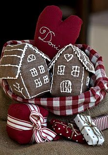 love these cloth faux chocolate houses