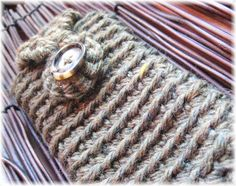 Forrest  iPhone crocheted cozy case with button by nadiahandmade, $24.00