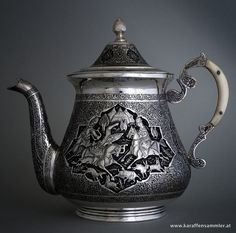 persian silver antique teapot