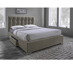 Grid Tufted Brown Fabric Upholstered Queen Size  Drawer Storage Bed