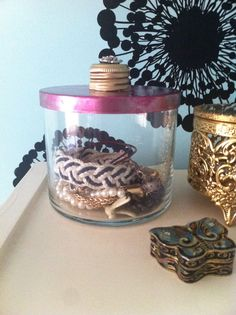 Repurposed bath and body works candle jar turned into a diy jewelry jar