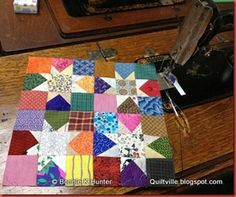 "New for the Marie Bostwick ""Between Heaven & Texas"" blog tour...my block, Wonky Wishes is an updo on my 2005 Maverick Stars tutorial! star block, bonni hunter, quiltvill, wonki star, bonnie hunter, quilt blocks, blog, 015, hunter design"