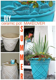 Love this quick  easy update for a Summertime front porch:  DIY ceramic pot Makeover tutorial by Fresh Idea Studio