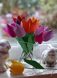 #kidscrafts - Paper Tulips Flower Bouquet - FREE Template #MothersDay #preschool