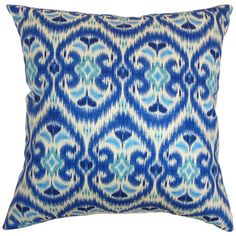 Cotton pillow with an ikat-inspired design. Made in the USA.   Product: PillowConstruction Material: Cotton cover...