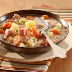 Chunky Potato & Ham Soup, made in broth rather than cream. It's light - yet hearty!
