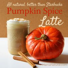 Pumpkin Spice latte recipe, a natural Starbucks copycat that's WAY healthier and way less expensive too. From MamaNatural.com.