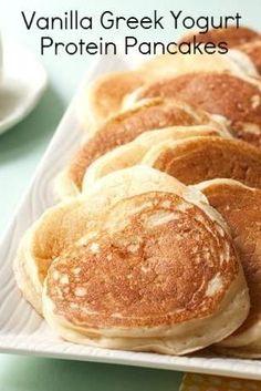 Vanilla Yogurt Pancakes greek yogurt breakfast, protein breakfast, vanilla pancakes, protein pancakes, healthy bisquick recipes, vanilla protein, vanilla greek yogurt, yogurt protein, fluffiest pancak
