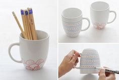 whim & whimsy: DIY Painted Mugs