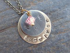 Metal Stamped 5 Year Survivor Necklace with Pink by cblandcompany, $24.00