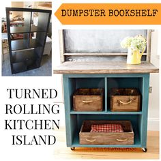 Dumpster found Bookshelf gets turned into a fabulous rolling Kitchen Island.  Easy tutorial, think of the possibilities!  REDOUXINTERIORS.COM FACEBOOK: REDOUX #dumpsterdiving #convertedfurniture #bookshelfmakeover #furnituremakeover #redouxinteriors