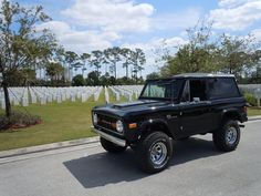 Freedom is not free.  Bronco owner giving respect to fallen soldiers.