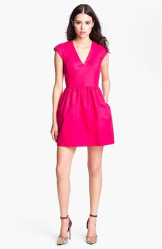 French Connection V-Neck Cotton Fit & Flare Dress | Nordstrom