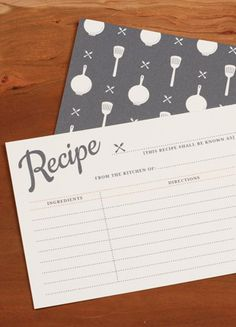 Free printable recipe cards. The best part?? It's an interactive PDF... so you can TYPE in your recipe before printing!! Courtesy of Love vs. Design.