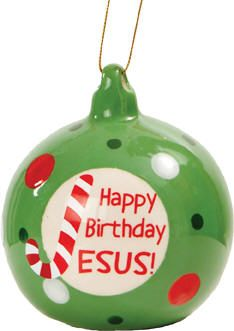 "Happy Birthday Jesus Ornament  CATHOLIC SUPPLY EXCLUSIVE!  This colorful Christmas ornament will capture the attention of the child in all of us. As we come together to celebrate the most important birthday in all Christianity, we joyful remember the simplicity of the season. Jesus is born! God sent his only Son for us. This vibrant polka dot Happy Birthday Jesus ornament also captures the ""J"" symbol of the candy cane...(Item #23745) $2.95   SALE! NOW $1.95  While Supplies Last or thru 12/24/12"
