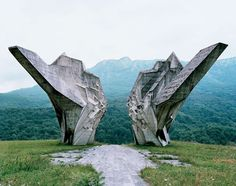 "These structures were commissioned by former Yugoslavian president Josip Broz Tito in the 1960s and 70s to commemorate sites where WWII battles took place (like Tjentište, Kozara and Kadinjača), or where concentration camps stood (like Jasenovac and Niš). They were designed by different sculptors (Dušan Džamonja, Vojin Bakić, Miodrag Živković, Jordan and Iskra Grabul, to name a few) and architects (Bogdan Bogdanović, Gradimir Medaković...), conveying powerful visual impact to show the confidence and strength of the Socialist Republic. In the 1980s, these monuments attracted millions of visitors per year, especially young pioneers for their ""patriotic education."" After the Republic dissolved in early 1990s, they were completely abandoned, and their symbolic meanings were forever lost."