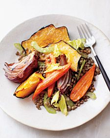 Fall Vegetables with Lentils by wholeliving: Swap any fall veggie, just trim everything to a uniform size for even roasting. #Vegetables #Fall_Vegetables_with_Lentils #wholeliving