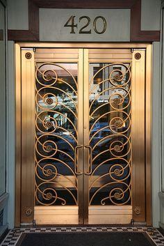 art deco doorway, front doors