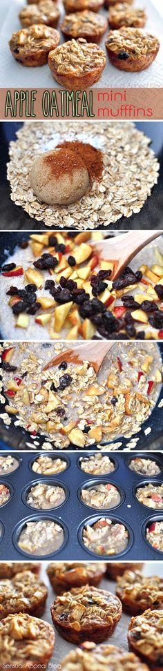 Apple Oatmeal Mini Muffins by sensualappealblog #Muffins #Mini #Apple #Oatmeal #Low_Fat #Healthy