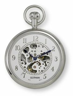 Gotham Men's Silver-Tone 17 Jewel Mechanical Open Face Pocket Watch # GWC14034SA Gotham. $59.95. Classic round silver-tone polished 17 jewel mechanical pocket watch suitable for engraving. Regal open face design with applied Roman numerals, blue cobalt hands and open exhibition center, front and back. Arrives with deluxe draw string pouch and gift box, Selvyt polishing cloth, operating instructions and lifetime limited warranty card. Scratch resistant front and bac...