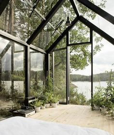 Greenhouse by a lake