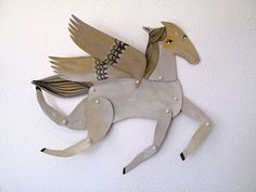 White Winged Horse Articulated Decoration  / Hinged Beasts Series - Emma Kidd