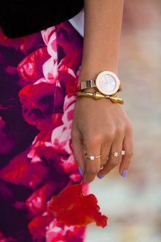accessori, bananas, fashion blogs, girl diari, diaries, movado watch, bangles, prints, banana republic