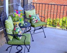 plastic, chairs, decorating ideas, outdoor, porch decorating, easter eggs, lanterns, easter porch, front porches