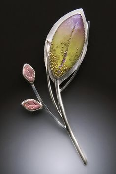 Grace Stokes - Lavender & Green Brooch Brooch: Sterling Silver & Polymer Clay
