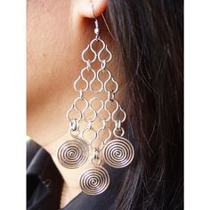 Wire medallion Earrings   Silver  Waves & 3 by wiredesignbydanilo, $32.00
