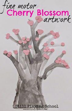 Fine Motor Cherry Blossom Tree Artwork from Still Playing School