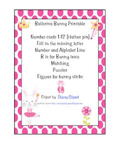 $.99 Preschool Printables: Ballerina