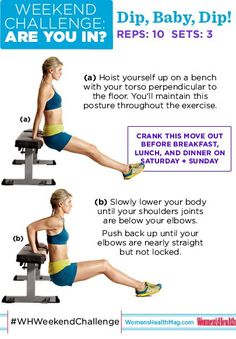 WEEKEND CHALLENGE! Dip, baby, dip! Fight off arm flab and build lean, sexy biceps and triceps. This weekend, do 3 sets of 10 dips before breakfast, lunch, and dinner. Any bench, chair, step, etc. will work. So...ARE YOU IN?