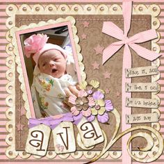 Sweet Pink Baby Page...with a ribbon.  Love this layout. scrapbook layouts, januari scrapbook, scrapbooks, babi scrapbook, baby scrapbook, babi girl, newborn layout, scrapbook pages, priceless life