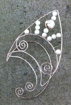 Pair of pink elf ears with white Howlite beads by CourtoftheFey, $35.00