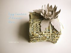 egg carton flower and leaf. michele made me: Egg Carton Flower Gift Bow