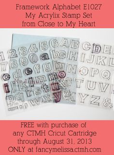 Cricut Collection & Framework Alphabet Special www.fancymelissa.com  Order any Cricut Collection from fancyMelissa by August 31 and get this Framework Alphabet Stamp Set for FREE. #ctmh #giveaway #diy stamp sets, heart stamp
