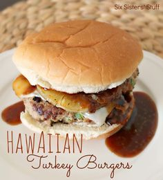 Hawaiian Turkey Burgers | My husband and I are burger people.  We seem to find every excuse possible to go get some big, juicy burgers for dinner whenever we can!  Now that we are both trying to eat healthier, we decided to give turkey burgers a whirl.  We weren't disappointed!  They were flavorful and delicious! | From: sixsistersstuff.com