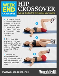 Try this rotational exercise for a slimmer midsection. The abdominal movement here uses way more muscles in your core—particularly your obliques—than standard crunches. REPIN IF YOU'RE IN! #WHWeekendChallenge http://www.womenshealthmag.com/fitness/weekend-challenge-hip-crossover?cm_mmc=Pinterest-_-womenshealth-_-content-fitness-_-weekendchallengehipcrossover