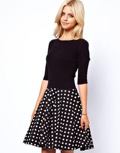{Lydia Bright Skater Dress With Polka Dot Skirt In Textured Jersey}