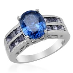 Liquidation Channel: Himalayan Kyanite and Iolite Ring in Platinum Overlay Sterling Silver (Nickel Free)