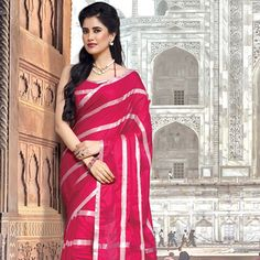 Fuchsia Poly #CottonSaree with Blouse