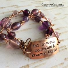 She stopped worrying and started living ~ Hand beaded, hand stamped this wrap bracelet measures 14in-15in -- made by Creative Carmella