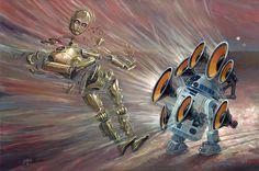 R2D2 vs. the other robot. Aaron Jasinski