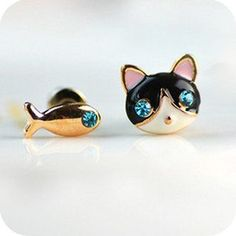 Betsey Johnson Synchronous Cute kitten fish earrings earrings Jewelry