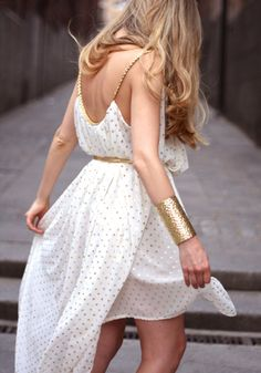 gold polka dot greek dress