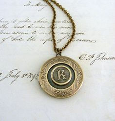 Locket Necklace Initial K  Vintage Brass by chloesvintagejewelry, $35.00